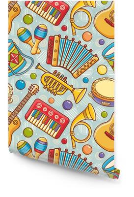 Instrument de musique. modèle sans couture. ornement de vecteur. style de bande dessinée. Rouleau de papier peint