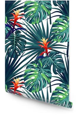 Sfondo tropicale esotico con piante e fiori hawaiani. modello di vettore senza soluzione di continuità con monstera verde e foglie di palma sabal, fiori di guzmania. Rotolo di carta da parati