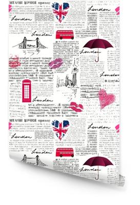 Vintage London pattern Wallpaper roll