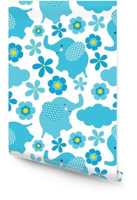 Nahtloses Muster der Babyparty mit dem netten Elefanten und den Blumen passend für Tapete, Altpapier und Postkarte Tapetenrolle