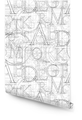 Lettertype naadloos wit Behangrol
