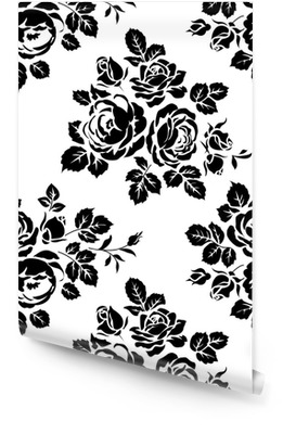 Monochrome seamless background with vintage rose silhouettes. Vector seamless pattern Wallpaper roll
