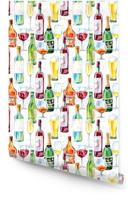 Modèle sans couture d'un champagne, cognac, vin, bière et verre. peinture d'une boisson alcoolisée .watercolor illustration dessinée à la main. Rouleau de papier peint