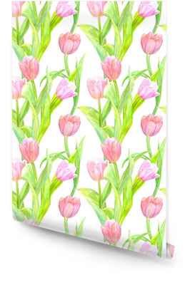 seamless texture with elegant tulips for your design. watercolor painting Wallpaper roll