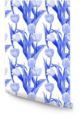 monochrome seamless texture with blue tulips for your design. watercolor painting Wallpaper roll