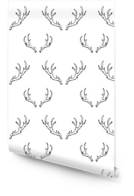 Patrones sin fisuras con cuernos de venado dibujados a mano. caza forestal Rollo de papel pintado