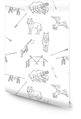 Seamless Pattern with American Indian Elements Wallpaper Roll