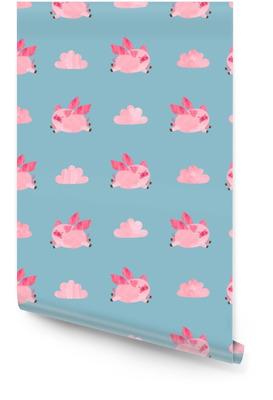 Schattig aquarel vliegende varkens naadloze patroon. Valentijnsdag vector achtergrond. Behangrol
