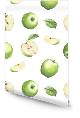 Reticolo senza giunte disegnato a mano con mele verdi dell'acquerello. mele e foglie su fondo bianco. Rotolo di carta da parati