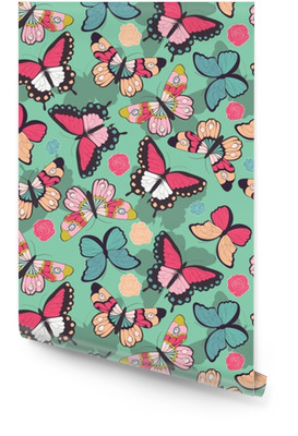Seamless vector pattern with hand drawn colorful butterflies Wallpaper roll