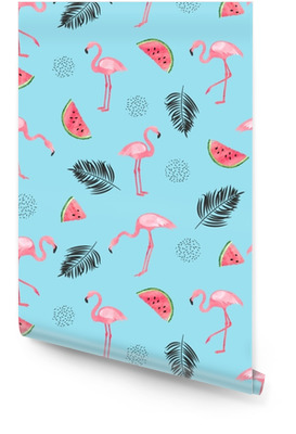 Seamless tropical trendy pattern with watercolor flamingos, watermelon and palm leaves on blue. Vector summer background. Wallpaper Roll