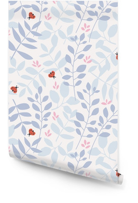 seamless pattern with different leaves and ladybugs Wallpaper Roll