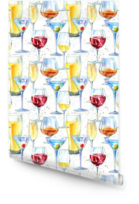 Seamless pattern of a champagne,cognac, wine,martini, beer and glass. Painting of a alcohol drink and splash .Watercolor hand drawn illustration.Beverage border.White background. Wallpaper roll