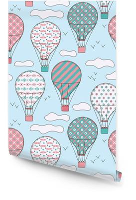 Modèle sans couture vintage vecteur dessiné à la main avec des mignons petits ballons à air dans le ciel avec des nuages. fond de rêve d'aventure. illustration enfantine. fond d'écran pour enfants. Rouleau de papier peint