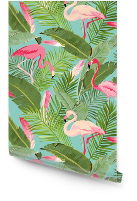 Tropical Seamless Vector Flamingo and Floral Summer Pattern. For Wallpapers, Backgrounds, Textures, Textile, Cards. Wallpaper Roll