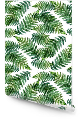 Tropical watercolor abstract pattern with fern leaves Wallpaper Roll