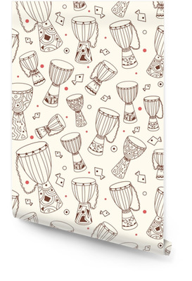 Hand drawn african drums djembe. Ethnic seamless pattern. Vector sketchy texture. Tillable african background with drums for fabric, textile design, wrapping paper or wallpaper. Wallpaper Roll