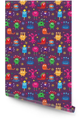 Seamless pattern with cute aliens on a violet background Wallpaper roll
