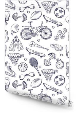 Vector doodles hand getrokken naadloze patroon van verschillende sport-accessoires Behangrol