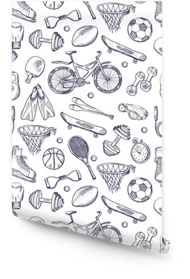 Vector doodles hand drawn seamless pattern of different sport accessories Wallpaper roll