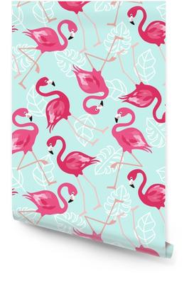 Flamingo naadloze patroon op mintgroene achtergrond. roze flamingo vector achtergrondontwerp voor stof en decor. vector trendy illustratie. Behangrol