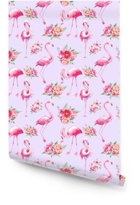 Aquarell Flamingo und Blumen nahtlose Muster. Handgemalte Blumenbeschaffenheit mit hellen exotischen Vögeln auf weißem Hintergrund. Mode-Tapeten-Design Tapetenrolle