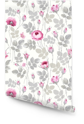 seamless floral pattern with roses in pastel colors Wallpaper roll