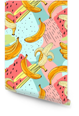 Seamless fruit pattern with banana. Hand drawn vector illustration in sketch style. Wallpaper Roll
