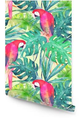 Zomer naadloze patroon met aquarel papegaai, palmbladeren. kleurrijke illustratie Behangrol