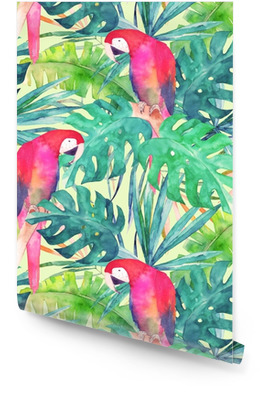 Lato wzór z akwarela papuga, liści palmowych. kolorowa ilustracja Tapeta w rolce