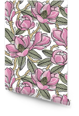 Modèle sans couture coloré avec des fleurs, des bourgeons, des feuilles et des branches de magnolia. illustration vectorielle, isolé sur fond pour la conception, tissu ou papier peint. Rouleau de papier peint