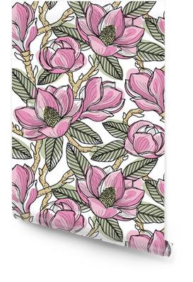 Fargerik sømløs mønster med blomster, knopper, blader og grener av magnolia. vektor illustrasjon, isolert på bakgrunn av design, stoff eller tapet. Rulletapet