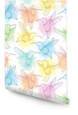 Vector naadloze patroon met vliegende kolibrie of colibri in contour stijl en vlekken in pastel kleur op de witte achtergrond. elegantie achtergrond met exotische tropische vogel voor zomer ontwerp. Behangrol
