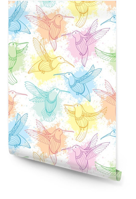 Vektor sömlöst mönster med flygande kolibri eller colibri i konturstil och blott i pastellfärg på den vita bakgrunden. elegans bakgrund med exotisk tropisk fågel för sommar design. Rulltapet