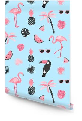 Motif tendance tropical avec flamant aquarelle, tranches de melon d'eau et feuilles de palmier. fond d'été vectorielle continue. Rouleau de papier peint