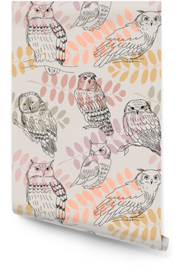 Seamless pattern with acacia branches and wild owls Wallpaper Roll