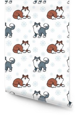 Seamless pattern per bambini in stile cartone animato con cani husky carino. sfondo vettoriale. Rotolo di carta da parati