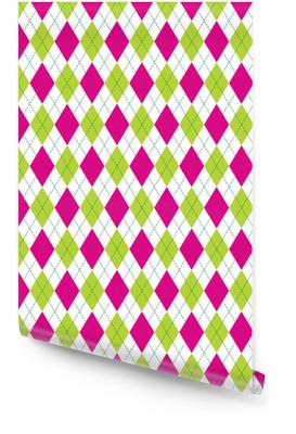 Vector argyle naadloze patroon in roze en groene kleur. naadloze argyle patroon. geruit naadloos patroon. Behangrol
