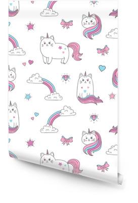 Søte katter unicorns sømløs mønster. vektor bakgrunn for barn design. Rulletapet