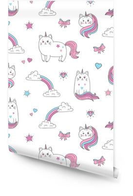 Cute cats unicorns seamless pattern. Vector background for kids design. Wallpaper Roll