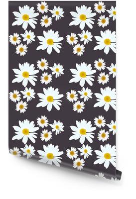 Madeliefje vector patroon. mooie bloemen op zwarte achtergrond. Behangrol