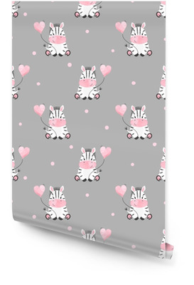Cute zebra with balloon seamless pattern. Vector kids background. Baby print. Wallpaper roll
