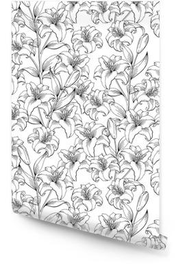 Vector de ilustración de bosquejo de lirio flor blanca negra patrón transparente Rollo de papel pintado