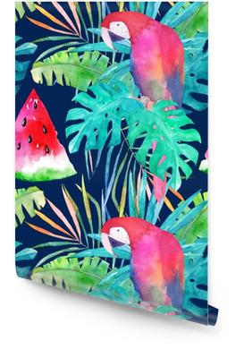 Modèle d'été avec perroquet aquarelle, feuilles de palmier et pastèque. illustration colorée Rouleau de papier peint