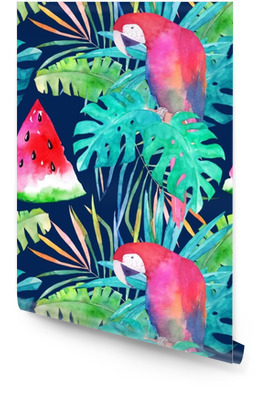 Summer pattern with watercolor parrot, palm leaves and watermelon. Colorful illustration Wallpaper roll