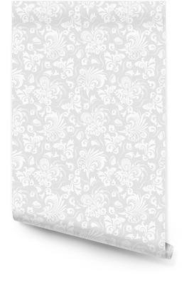 Bezproblémové šedé pozadí s bílým vzorem v barokním stylu. vektorové retro ilustrace. ideální pro tisk na látku nebo papír. Tapeta v rolích