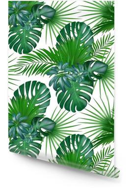 Modèle de vecteur exotique botanique réaliste dessinés à la main sans soudure avec des feuilles de palmier vert isolé sur fond blanc. Rouleau de papier peint