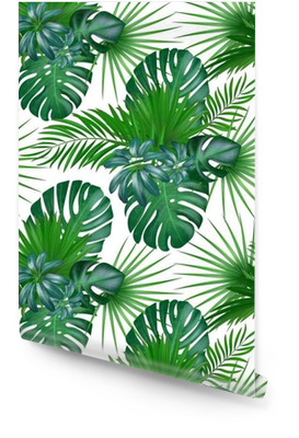 Seamless hand drawn realistic botanical exotic vector pattern with green palm leaves isolated on white background. Wallpaper roll