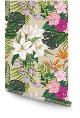 Bezproblémový vzor s tropickými květinami. vektorové ilustrace. Tapeta v rolích