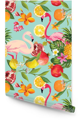 Seamless Tropical Fruits and Flamingo Pattern in Vector. Pomegranate, Lemon, Orange Flowers, Leaves and Fruits Background. Wallpaper roll